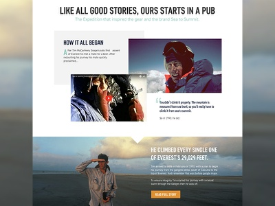 Sea to Summit - Home Page outdoors digital responsive layout website web home page ecommerce editorial camping