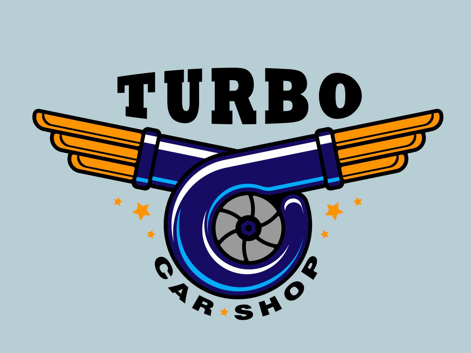 Logo Turbo Car Shop turbine flat  design illustration vector logo car workshop
