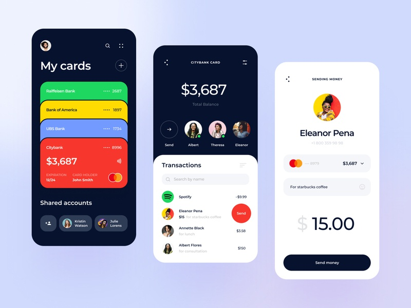 Bank cards aggregator app app finance app financial fintech cards bank card accents contacts wallet ux design ux ui transaction mobile design mobile app finance design card banking bank