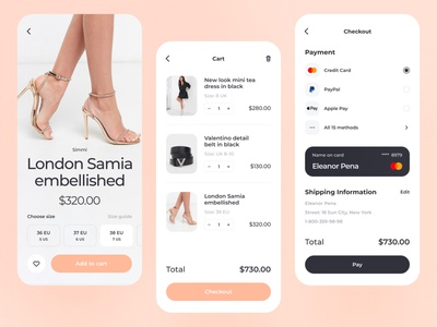 E-commerce Checkout Concept ecommerce app ux ui app application mobile product design design checkout shop shipping woman minimalistic shoes mobile design legs pay credit card card