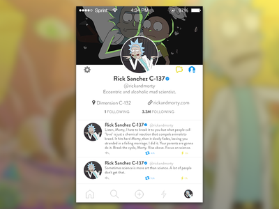 Rick and Morty Social Profile cartoon network free rick adult swim rick and morty mobile ui social media profile ux ui