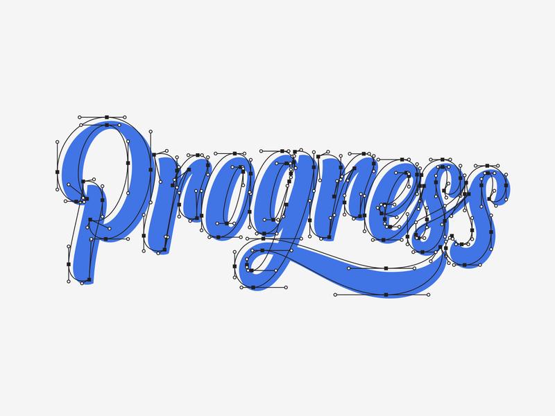 Progress adobe illustrator anchor points design customtype lettering typography vector type calligraphy handlettering