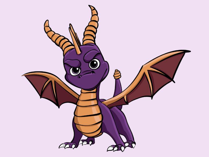 Spyro vector illustrator wacom tablet wacom intuos wacom game illustration character spyro