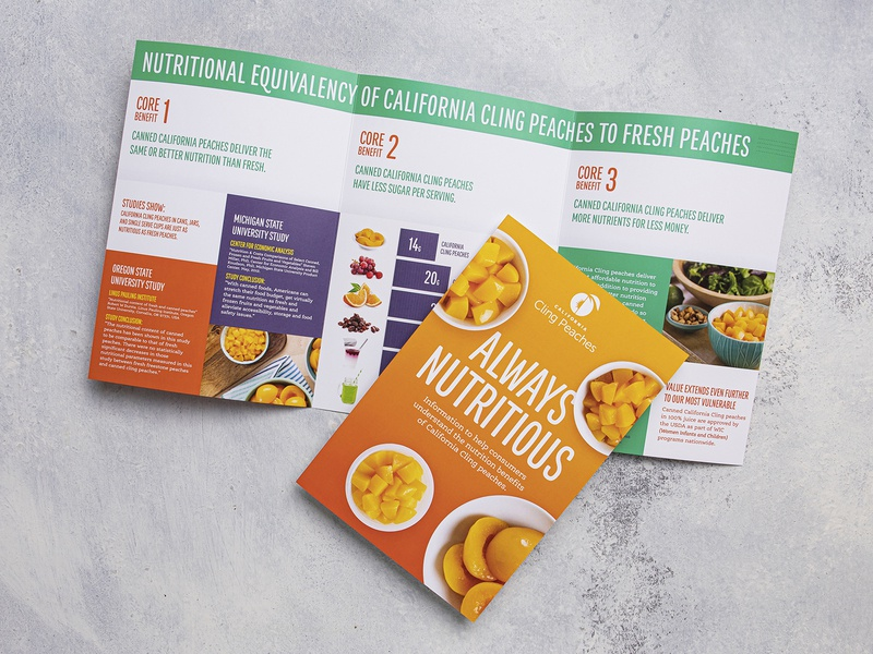 Always Nutritious Brochure print design lunch snack healthy school produce food brochure education nutrition fruit peaches