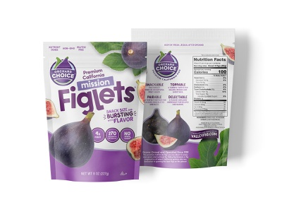 Orchard Choice Mission Figlets healthy grocery fresh fruit figs packaging design pouch bag produce snack food packaging