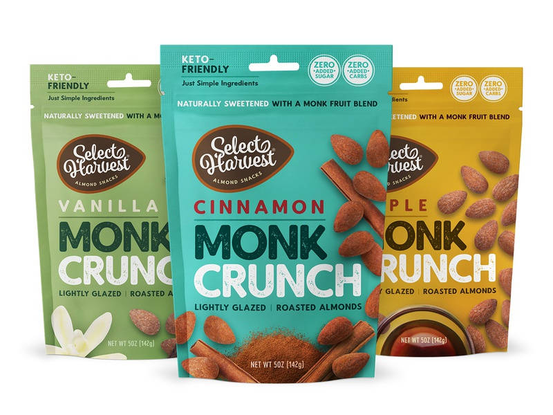 Select Harvest Monk Crunch natural logo branding pouch bag packaging design healthy natural almonds nuts snack