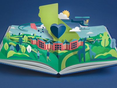 Valley Children's Hospital Impact Report illustration digital cover design play outside popup editorial illustration childrens book paper children editorial illustration