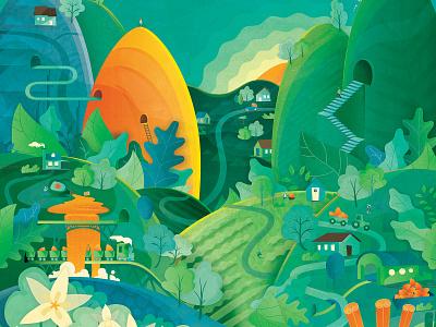 World of Monk Crunch vector branding decorative floral paper illustration village landscape texture food packaging illustration digital