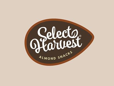 Select Harvest Logo food and drink identity branding snacks nuts almonds agriculture food logo design logo