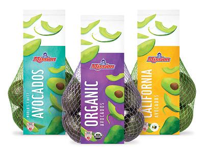 Mission Avocado Bags digital illustration illustration bright healthy fresh label grocery fruit produce packaging bag agriculture food