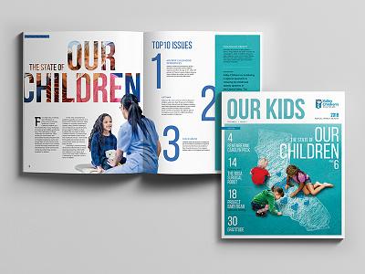 Valley Children's Hospital Annual Impact Report top ten statistics doctor children hospital kids healthcare report design spread magazine publication print design report