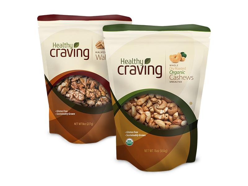 Healthy Craving Packaging walnuts cashews natural fresh bag organic nuts ecommerce packaging snacks food