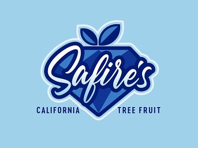 Safire's California Tree Fruit Logo jewel gem sapphire produce fresh specialty nectarines peaches fruit logodesign logo