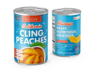 California Cling Peach Can sliced fruit snack healthy food label mockup aluminum food package packaging design package can