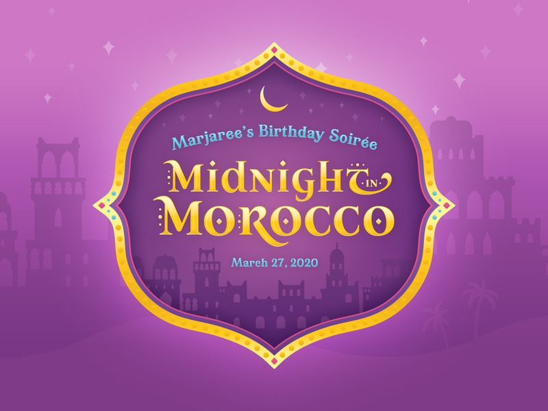 Midnight in Morocco fundraiser soiree gala celebration party theme crest seal event logo