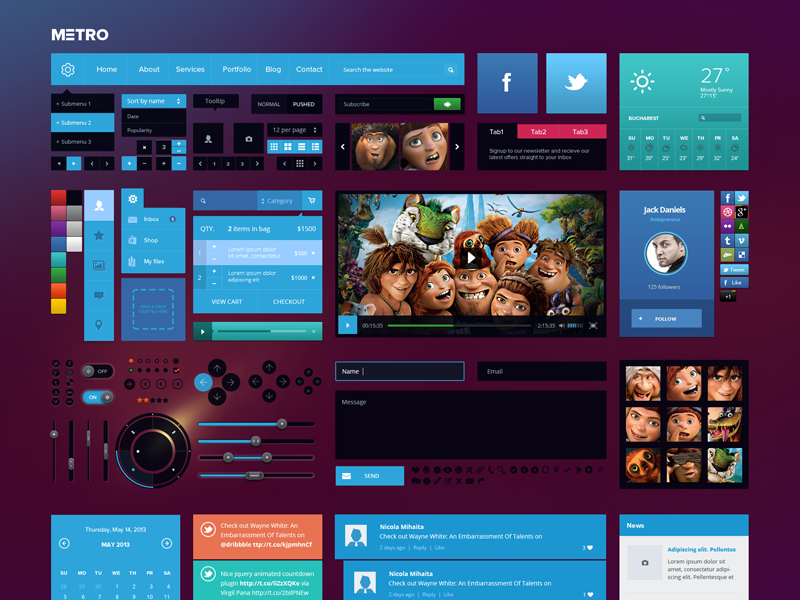Metro style Ui Kit web design ui kit metro square button navigation interface mail form slider header subscribe pricelist design graphic login blog entry social comments contact elements cart shopping bag calendar weather twitter facebook