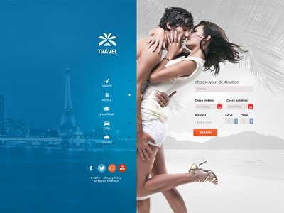 Travel Agency - Multipurpose Booking PSD Template booking cruises deals early booking flights hotels last minute psd template real estate room travel agency vacations