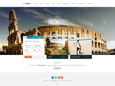 Travel Agency - Responsive HTML5 Template book deals flights hotel html5 template online booking real estate rentals responsive tickets travel