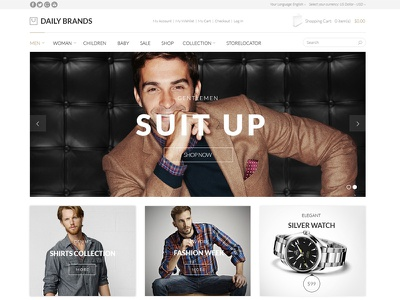 Daily Brands Store - eCommerce PSD Template apparel cart clothing ecommerce fashion magento modern online store psd retail shop store