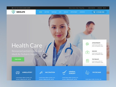 Medical Wordpress Theme hospital modern clean health clinic ui design ux design interface website theme wordpress medical