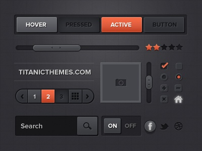 ui design kit - dark menu retina professional element kit button resources gui ux ui dajy dark download free scroll numbers checkbox bar ratings pages