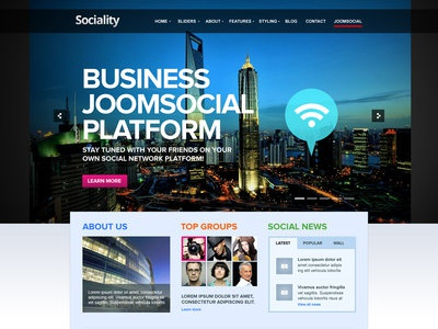 Sociality Joomla Template joomla premium awesome business corporate creative fancy fashion jomsocial modern multi purpose photography portfolio social network unique
