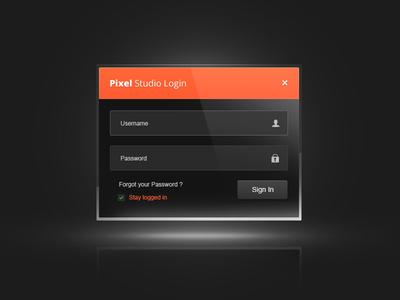 Pixel Login login form ui ux box end dark back-end pixel studio dajy