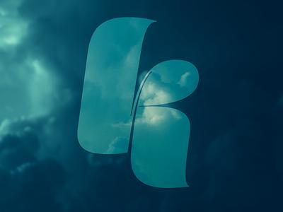 K // Script bold script k letter letters lettering symbol typography art typographic blue storm photo overlay sky cloud typography type lettermark