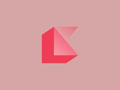 K // Block gradient layered vector typography lettermark design k letter illustration branding logo