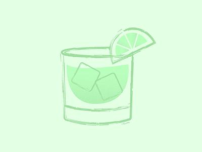Las Bebidas drink cherry lemon whimsical cocktail party brush pen brushes margarita texture summer lime cocktail minimal vector illustration