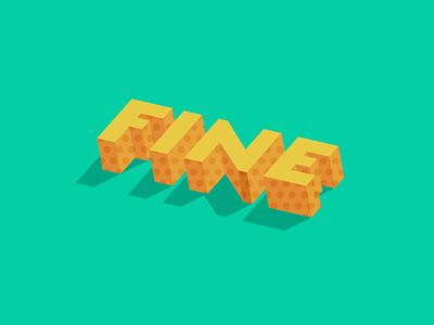 Fine dimension 3-d sans serif lettering pattern design typography vector illustration