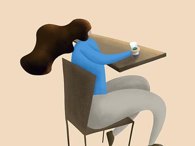 The Coffee Girl with Coffee Hair procreate ipad illustration 2d freethrow