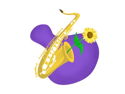 Happy Sax procreate ipad illustration 2d freethrow