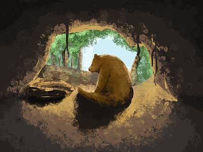 mama bear ipad procreate drawing cave bear illustration 2d