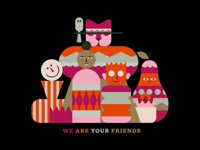 We are your friends frutas color vector characterdesign design illustration