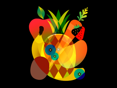 Fruits vector blueberry kiwi strawberry carrot apple banana fruits design illustration