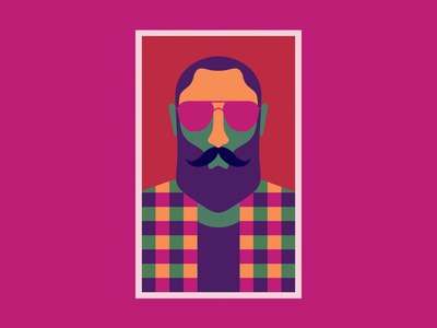 Hipster One beard poster colors wool glasses hipster illustration