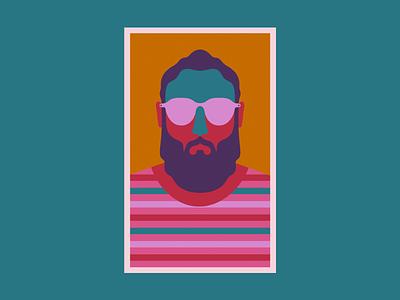 Hipster Two beard vector logo design illustration illustrator glasses hipster