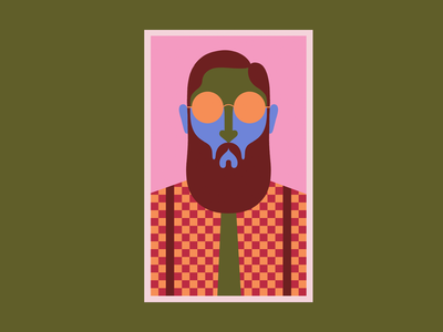 Hipster tree poster colors characterdesign texture glasses beard illustration