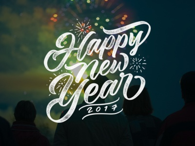 Happy New Year Lettering Overlays