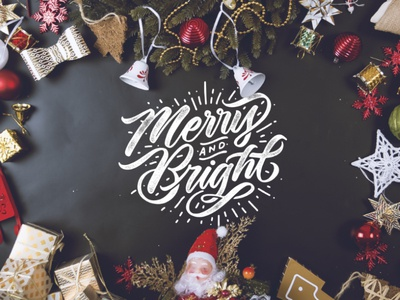 Merry Christmas Lettering Overlays