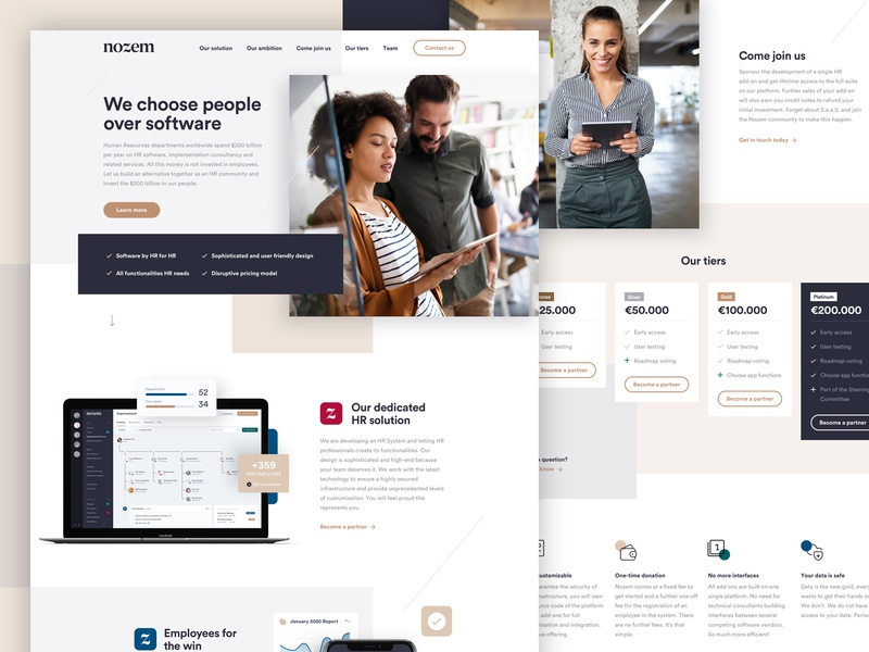 Nozem landingpage ui gold hr app branding webdesign