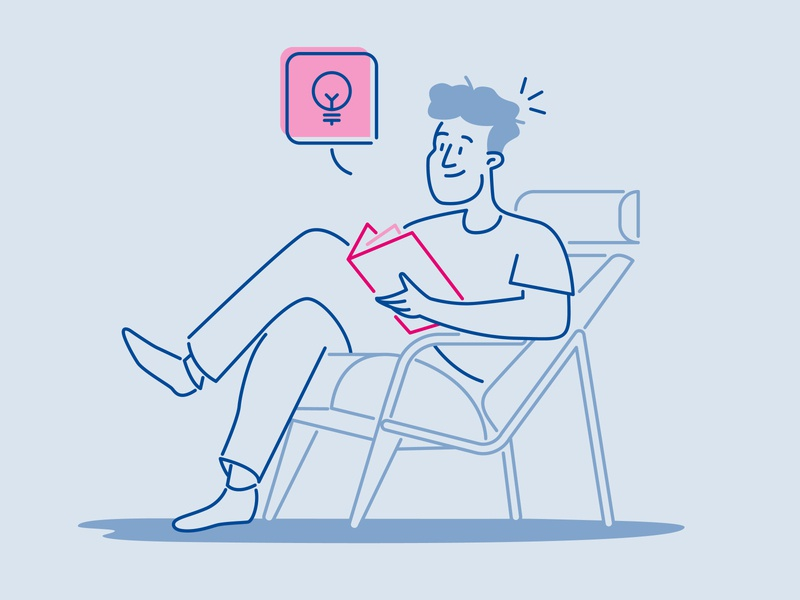 Getting ideas while reading reading blue books character vector branding adobe illustrator illustration