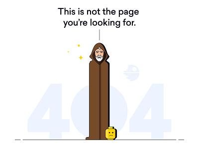 Lemone 404 adobe illustrator vector illustration death star star wars easter egg lego obi wan kenobi website error 404