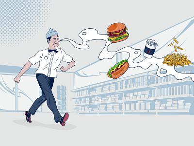 Tony's streetfood promo vintage animation branding design adobe illustrator food fifties illustration