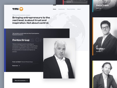 TMI Investments global anthracite minimal grey investments typography clean design website webdesign