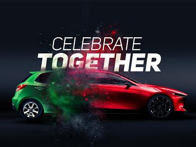 Mazda old and new car anniversary visual photoshop