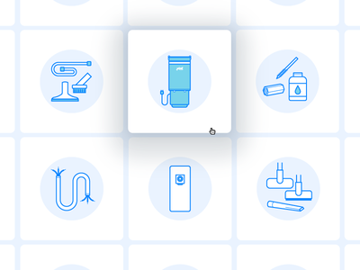 Central Vacuum System Icons design hover state categories webshop custom illustrator tiles vacuum blue icons