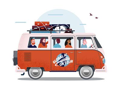 Global AI on tour retro adobe illustrator orange volkswagen character design illustrator illustration