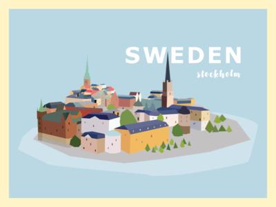 Sweden travel rebound pastel illustration europe city stockholm sweden